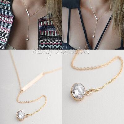 Women Crystal Pendant Choker Chunky Statement Bib Chain Plain Necklace Jewelry