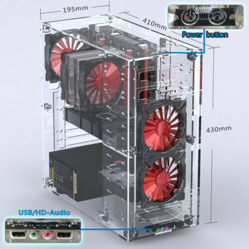 Upgraded DIY Personalized Acrylic ATX Standard Computer PC Case Assembly Kit