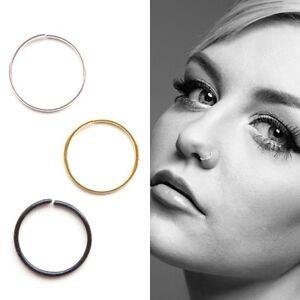 Sterling Silver Plain Nose Ring Hoop Piercing Silver Gold Or Black