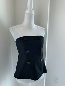 Club Monaco Black Sleeveless Cotton Button Trim Bustier Top SZ 10 M