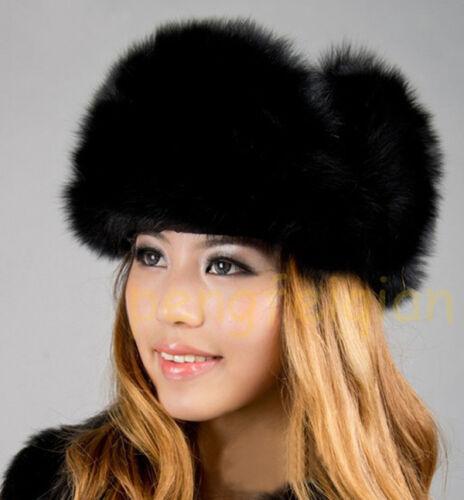 Chapka Bonnet Femme Ouchanka Fourrure de Renard Véritable Hiver Duveteux