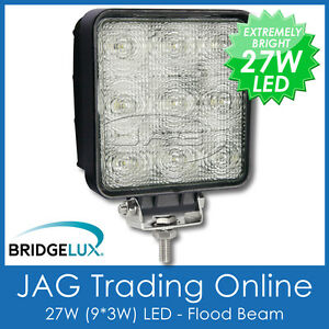 27W LED 12V~24V SQUARE FLOOD/WORK LAMP-DRIVING/BOAT/4X4/TRUCK/DECK/UTILITY LIGHT