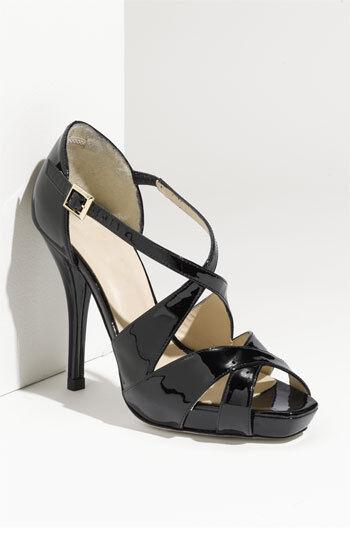 NEW L.K. Bennett SANDY BLACK Patent Platform Sandal Pump Heel shoes S 39 EU 9 US