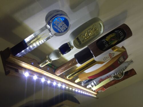LIGHTED BEER TAP HANDLE DISPLAY HOLDS 10 OAK BATTERY POWERED BRIGHT LEDS