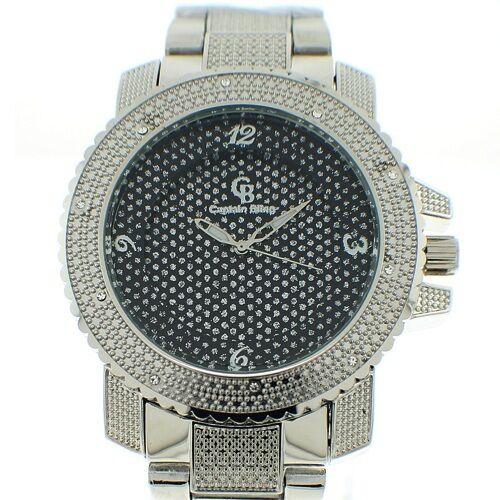 MENS ICED OUT SILVER CAPTAIN BLING ICE NATION HIP HOP WATCH WITH METAL BAND