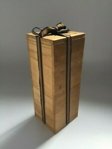 Japanese-Wooden-Box-Vintage-Flower-Vase-Case-Storage-Square-Kanji-Ribbon-V131