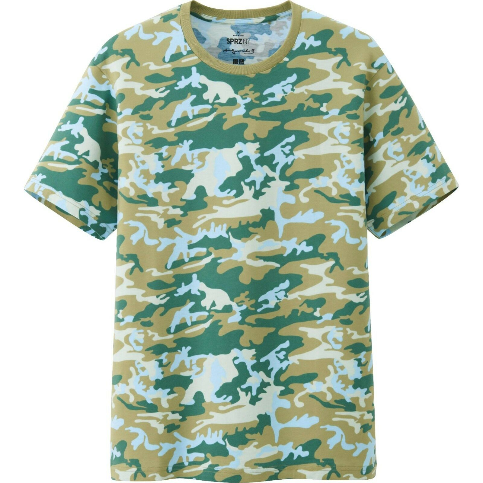 ANDY WARHOL x UNIQLO 'Camouflage' SPRZ NY Art T-Shirt Men's S Beige Camo NWT
