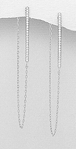 Sterling Argent Brillant Zircon Cubique Barre Délicat Chaîne de refoulement 58 mm Dangle Earrings 2 G