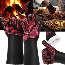 Hot 662°F Heat Proof Resistant Barbecue BBQ Grilling Gloves Kitchen Cooking Long
