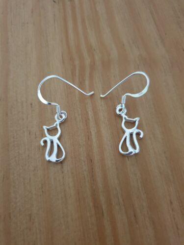 925 Sterling Silver Cat Dangly Drop Earrings