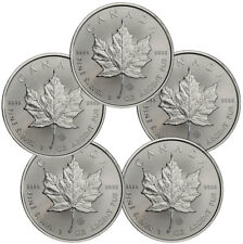 Lot of 5 - 2019 Canada 1 oz. Silver Maple Leaf $5 Coins GEM BU SKU55536