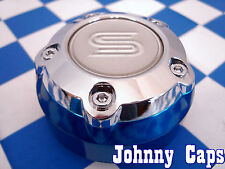 AF Sacchi Sendel Wheels Chrome/Blue Center Caps #STW-095-B Custom Cap (5313) (1)