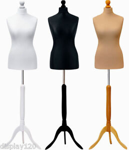 Female Tailors Dummy Cream Size 18//20 Dressmakers Fashion Students Mannequin Display Bust With A Dark Wood Tripod Base