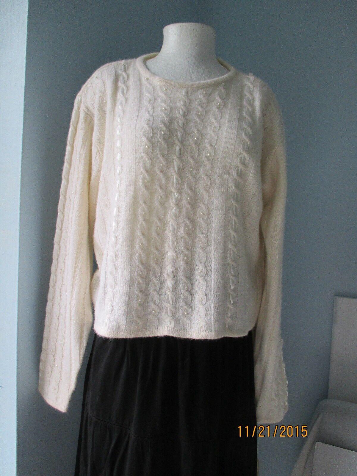 Liz Claiborne Women's White Ivory Wool Angora Blend Sweater,L NWT MSRP  118.00