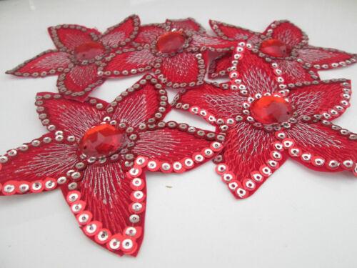 4 flores aplicadas perchas imágenes top lentejuelas piedras rojo cenefa 9cmx7cm