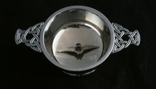 RAF Wings Large Quaich Scottish Drinking Bowl Pewter Stainless Steel