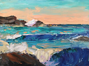 BLUE-GOLD-THREE-Original-Expression-Seascape-Waves-Oil-Painting-12x16-041418-KEN
