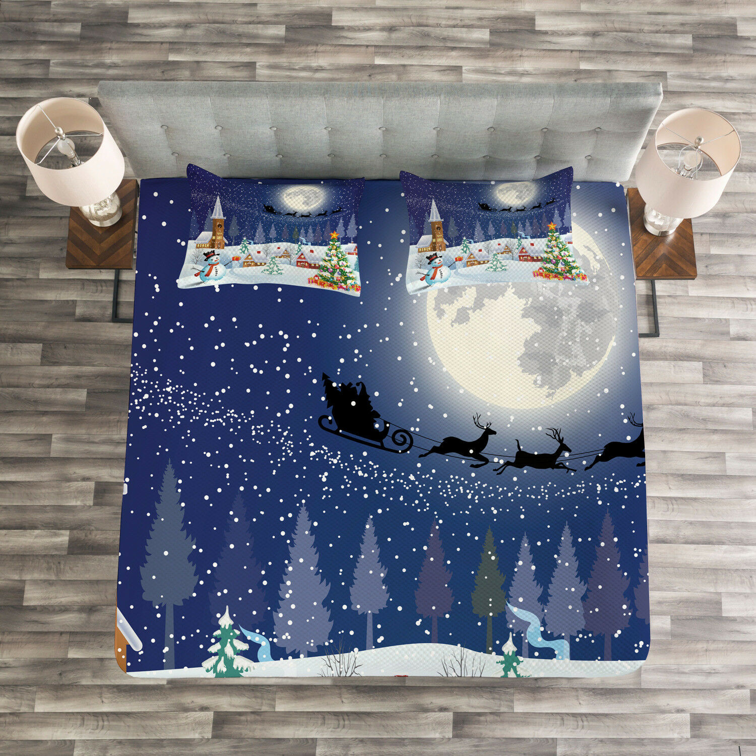 Christmas Quilted Bedspread & Pillow Shams Set, Winter Landscape Print