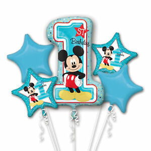 Image Is Loading Baby Mickey Mouse 1st Birthday Balloon 5pc Bouquet