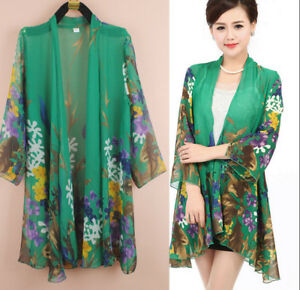 8f4a396f249c2 Women s Printed Summer Silk Coats Tops Dress Chiffon Long Shirt ...