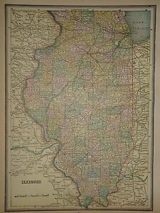 VINTAGE 1890 ILLINOIS MAP OLD ANTIQUE ORIGINAL ATLAS MAP 90/042117