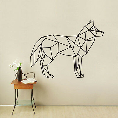 Wolf Wall Decal Geometric Animal Wolf Art Wall Sticker 3D Home Decor Removable