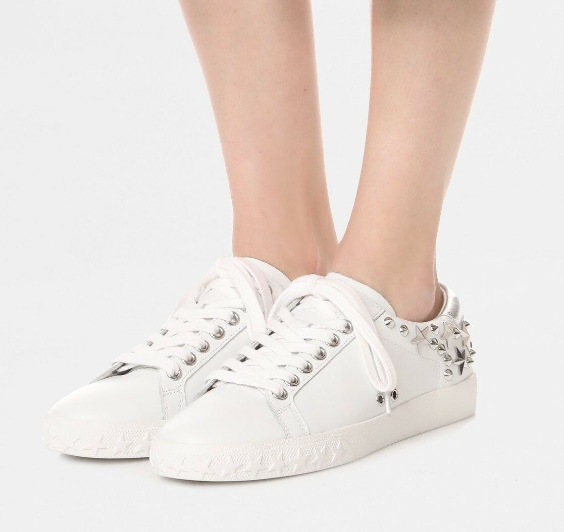Ash Brand Brand Ash Women's Dazed Stars & Studs Leather Shoes Sneakers White Silver New 7dfb30