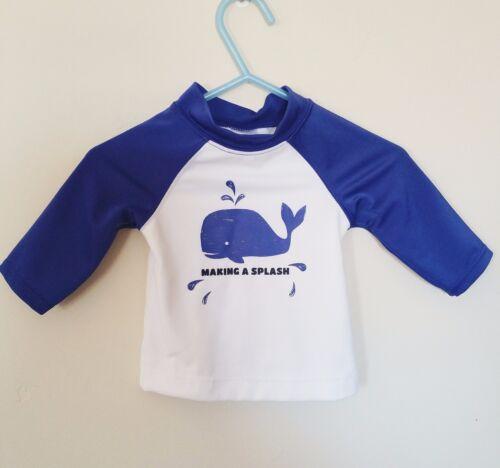 Gymboree Baby Boys Boy Swim Suit Rash Top NWT Size 0-3 Months Blue Whale