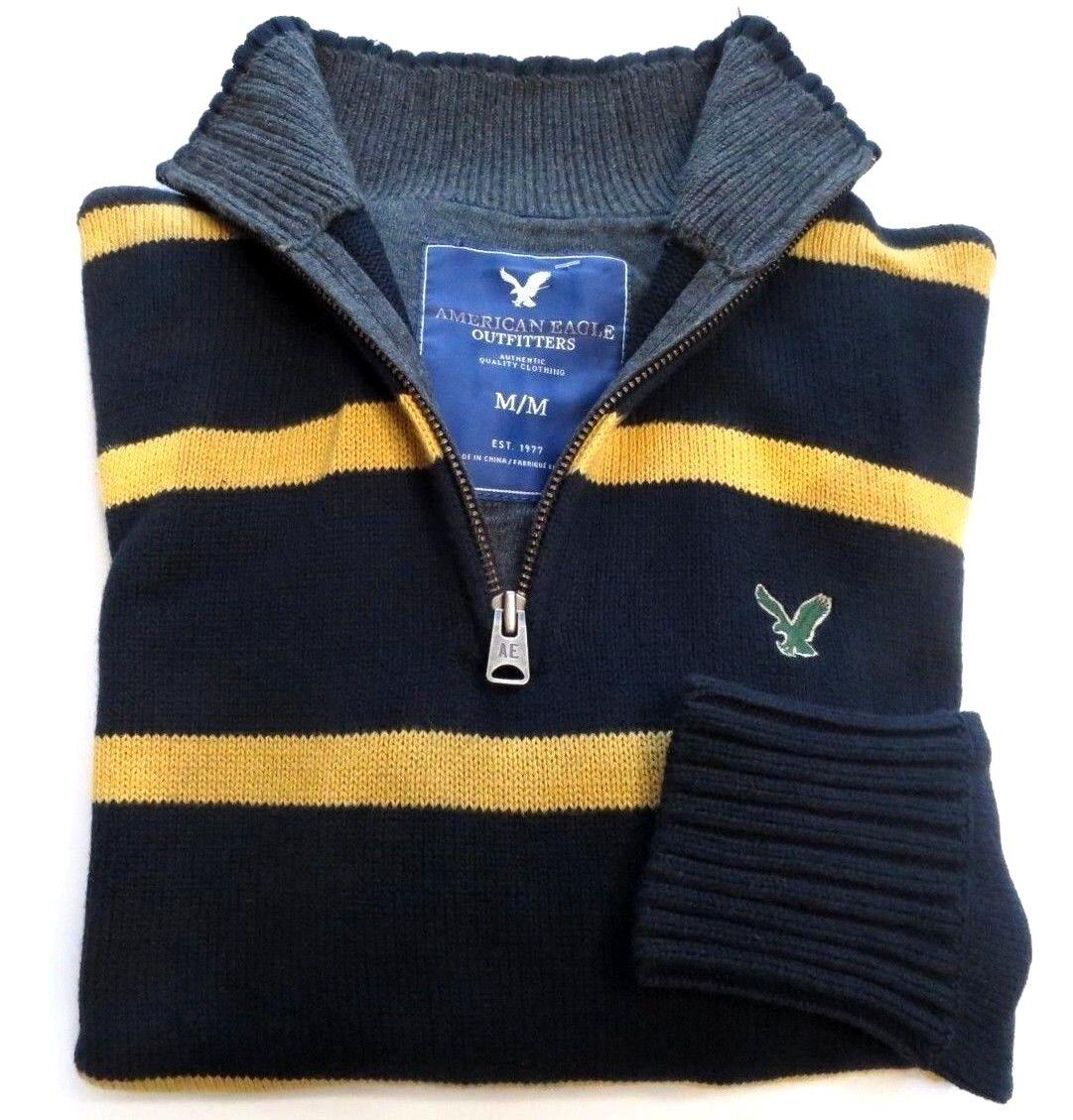 NEW American Eagle AEO Mens Half Zip Logo Striped Yellow bluee Cotton Sweater