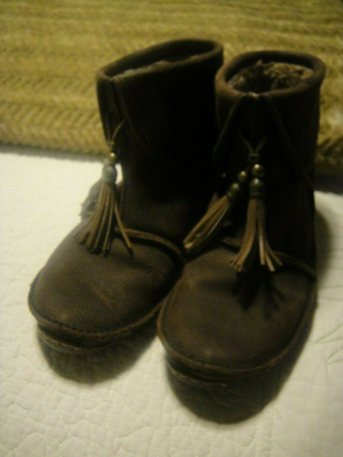DURANGO CITY SANTA FE BOOTS BROWN LEATHER MOCASSINS W TASSLE WARM LINER 8