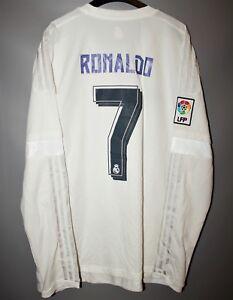 super popular 7cca6 960a0 Details about REAL MADRID #7 RONALDO 2015 2016 HOME FOOTBALL SHIRT JERSEY  LONG SLEEVE SIZE XL