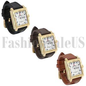 Luxury-Men-039-s-Army-Infantry-Square-Dial-Watch-Quartz-Leather-Sport-Wristwatches
