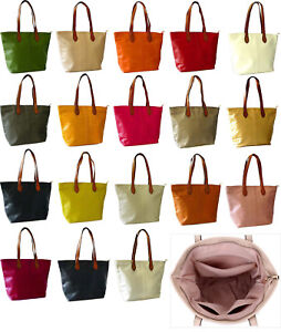 7476f5e3f9 Ladies Faux Leather Tote Bag Womens Shoulder Handbag Plain Beach Bag ...