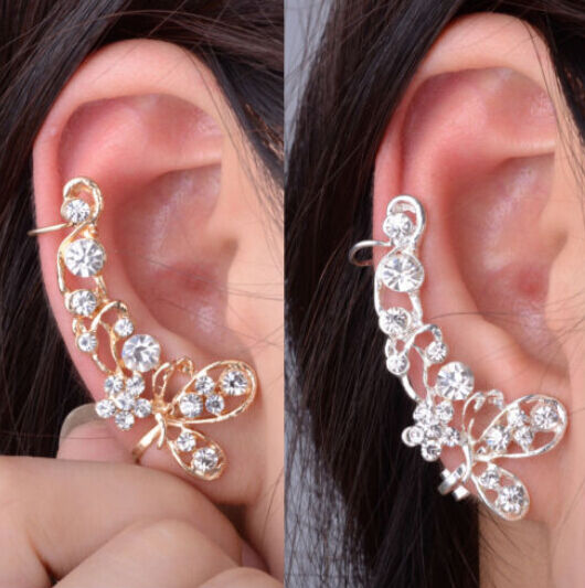 Butterfly Crystal Retro Flower Ear Cuff Stud Earring dangler eardrop
