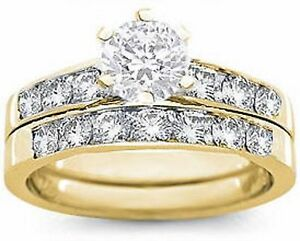 18K-GOLD-EP-2CT-DIAMOND-SIMULATED-ENGAGEMENT-SET-RING-size-5-10-you-choose