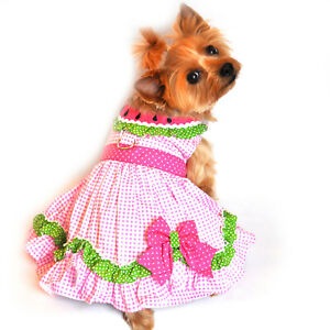 Dog-Dress-Watermelon-Collar-with-Polka-Dots-and-Gingham-Checks-by-Doggie-Design