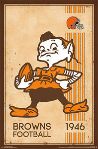 Details About Nfl Heritage Series Cleveland Browns 1940s Style Brownie Elf Wall Poster
