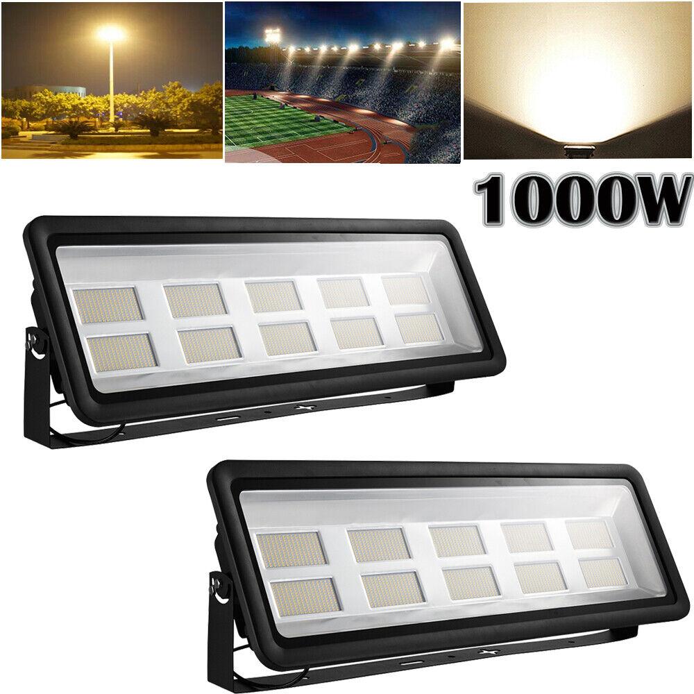 2X 1000W LED Fluter Außen Strahler Scheinwerfer Flutlicht Warmweiß IP65 Außen