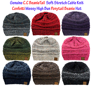 dc70d46eb21 Image is loading CC-BeanieTail-CONFETTI-Soft-Stretch-Cable-Knit-Messy-