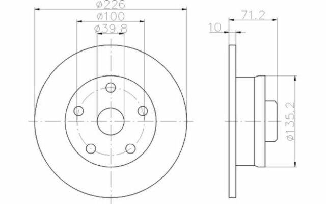 TEXTAR Disco de freno (x1) Trasero 226mm VOLKSWAGEN GOLF SEAT TOLEDO 92057200