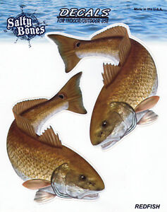 Redfish Decals Bumper Stickers Right Left Mirror Images Gifts Fish Fishing Men