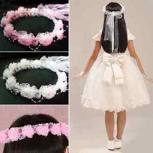 Kinder-Haarband-Schleifen-Haarreif-Blumen-Kranz-Madchen-Kommunion-Blumenkinder