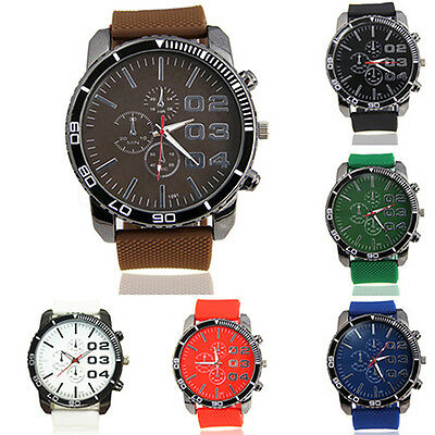 Trendy Men Stainless Steel Case Silicone Rubber Sport Analog Quartz Wrist Watch