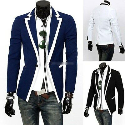 Mens Casual Dress Slim Fit Stylish One Button Suit Blazer Jackets Coat