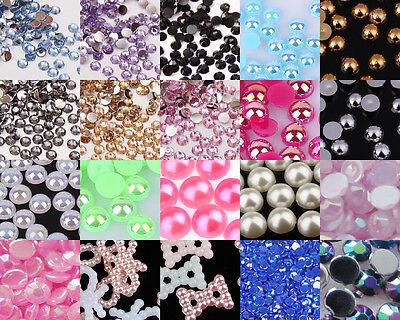 Crystal Rhinestones Gems Resin AB Pearl Nail Art Tips Phone Craft Decor #A