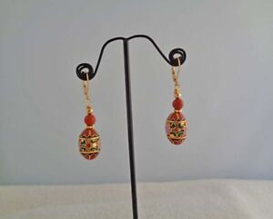 Vintage-Asian-Earrings-Rust-Chinese-Cloisonne-Handmade-in-USA-Asian-Jewelry