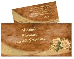 Das Bild Wird Geladen Schoene Einladungskarte Runder Geburtstag Vintage  Rosen Erwachsene 50