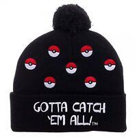 Pokemon Pokeball Cuff Pom Knit Black Beanie