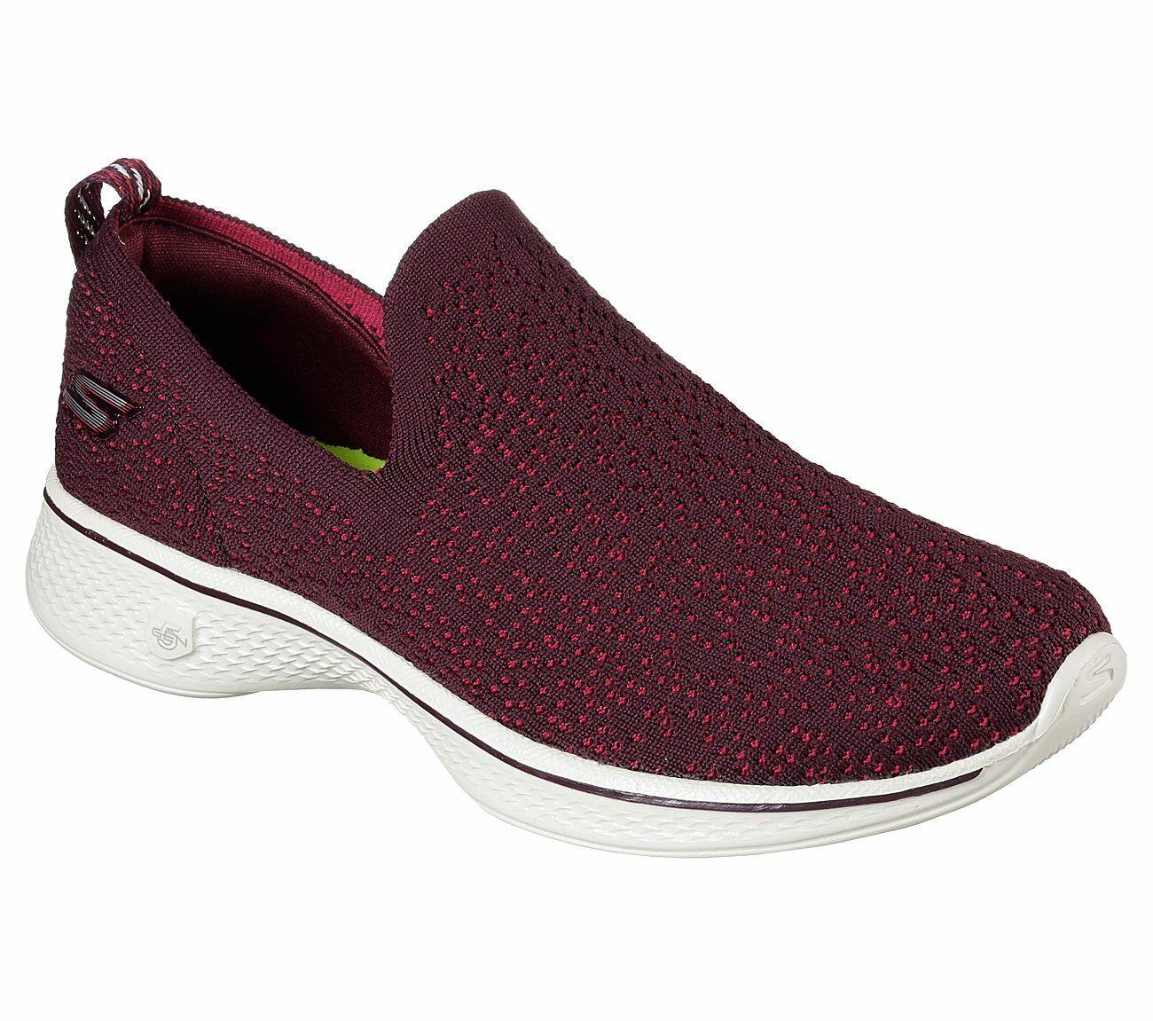 Skechers Burgundy shoes Go Walk 4 Women Light Mesh Slip On Comfort Casual 14918