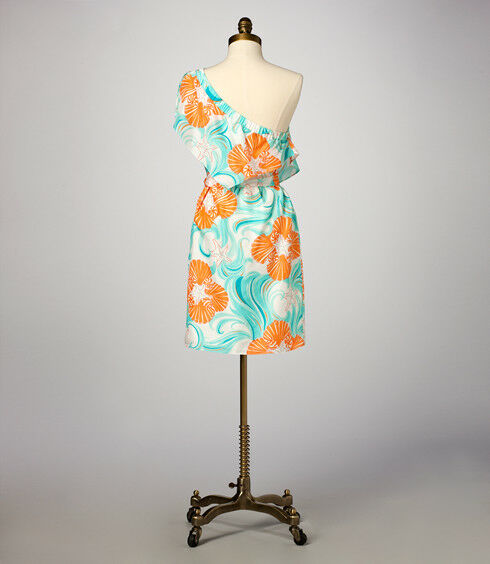 268 Lilly Pulitzer Kendall Do The The The Wave One Shoulder Silk Belted Dress 6 498695
